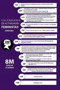 Calendario Actividades Feministas 8M Córdoba