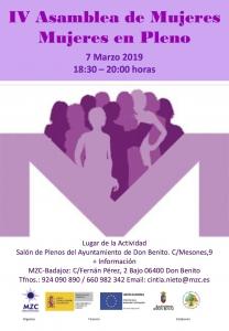 Cartel Asamblea Mujeres 8M Extremadura
