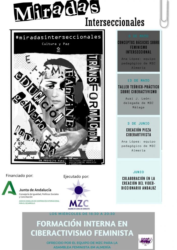 En el cartel se oberva un collage en blanco y negro con el rostro de una mujer de fondo, y palabras escritas encima. Transformación, Fanzine, Educación, Género, Andalucía. A la derecha, hay un torre de recuadros en los aparecen las fehcas de las actividades y sus títulos. Abajo, está el faldón de logos.